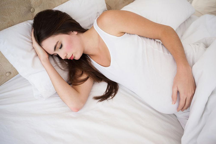 Pregnant Woman Sleeps on Her Side