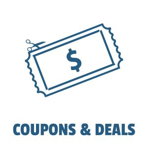 Coupon & Deals icon, scissors cutting a dollar bill