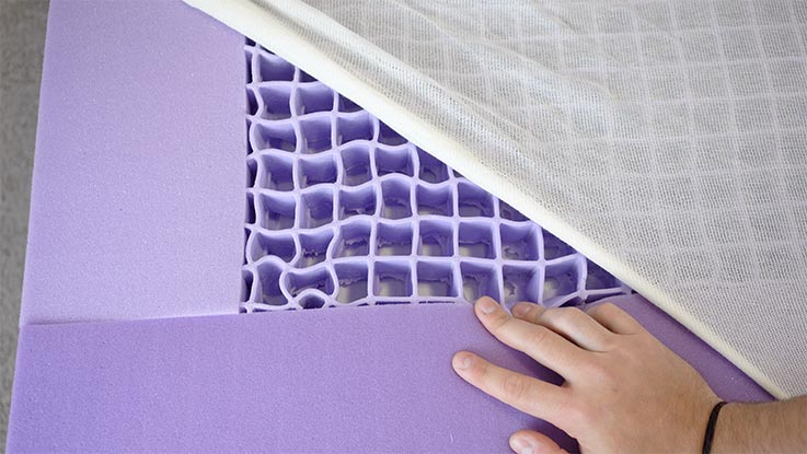 Purple Mattress Review with purple grid on display