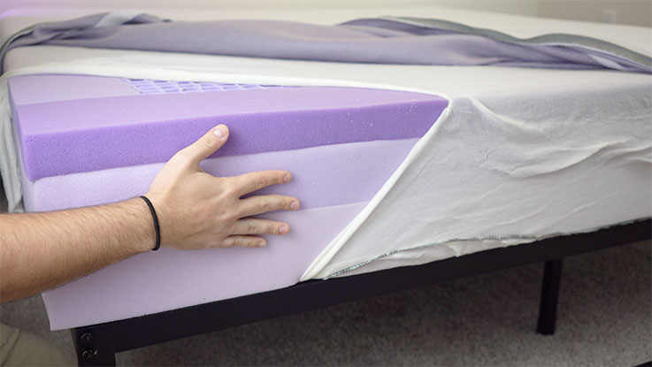 Purple Mattress review showing layers of construction