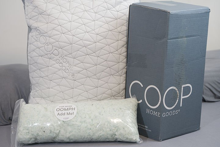 Coop Eden Pillow review with pillow, box and extra foam