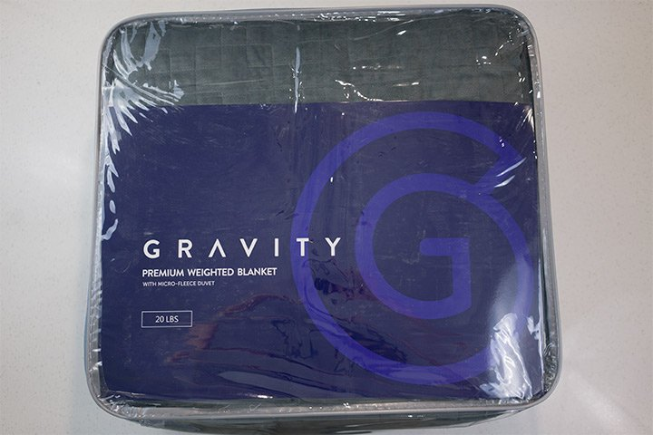 Gravity weighted blanket packaged up