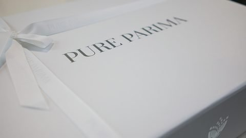 Pure Parima sheet review showing elegant white box with logo