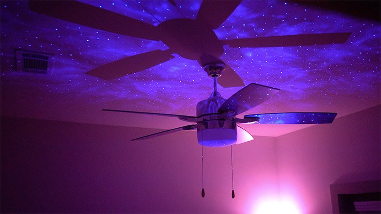 BlissLights Sky Light nebula cloud and stars projected on ceiling