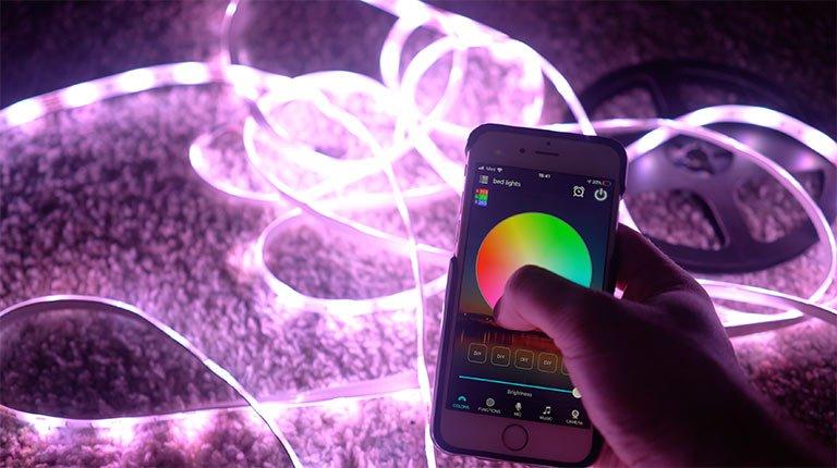 RC LED Strip Lights on display with smart app
