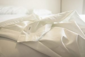 Nectar Sateen Sheets on bed